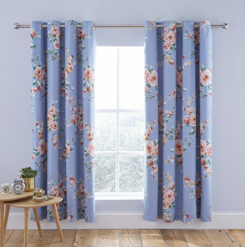 Catherine Lansfield Canterbury Blue Blackout Eyelet Curtains
